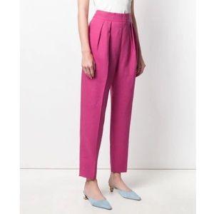 Theory Pleat Pure Linen Trousers in Pop Fuschia